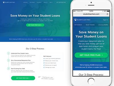 Student Loan Hero - New Homepage website ux ui tablet mobile green blue product responsive homepage