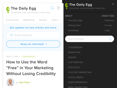 Crazy Egg Blog - Mobile Nav cta fields inputs opt-in ux ui menu navigation mobile blog