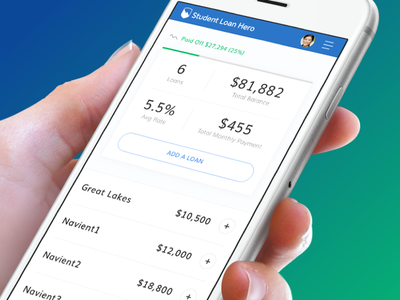 Student Loan Hero - Mobile Loan Dashboard drawer expand progress loans web app dashboard mobile