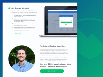 Student Loan Hero - New Homepage (Security + Story) responsive staggered bullets checkmarks security story landing homepage