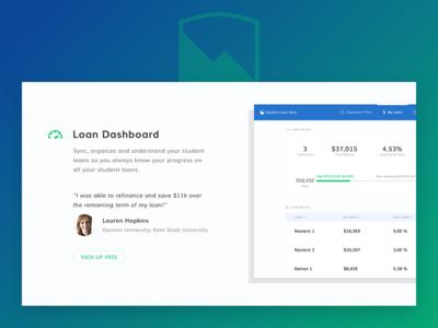 Student Loan Hero - New Homepage (Feature + Testimonial)