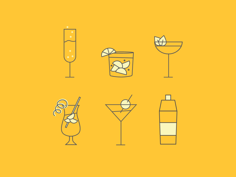 Glassware and Drinkage cocktail glassware drink cocktails drinks iconography icons