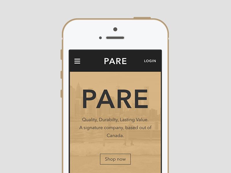 Pare - Mobile pare tan gold winnipeg canada website minimal iphone