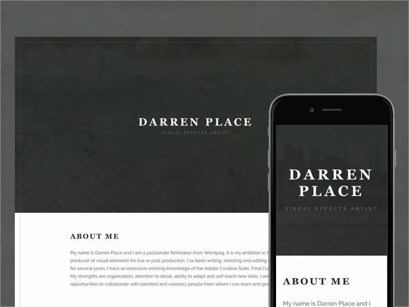 One pager minimal website landing personal winnipeg vfx
