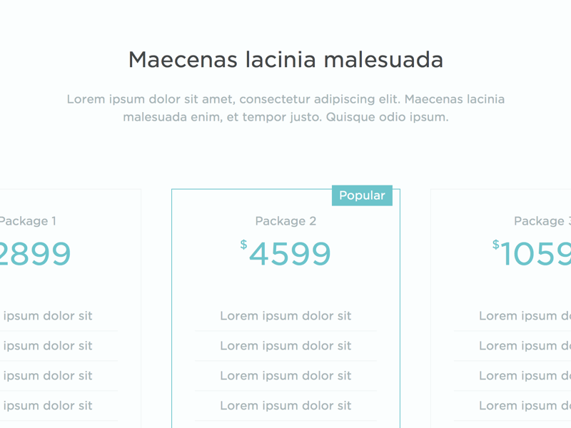 Pricing Packages pricing packages columns web ui popular