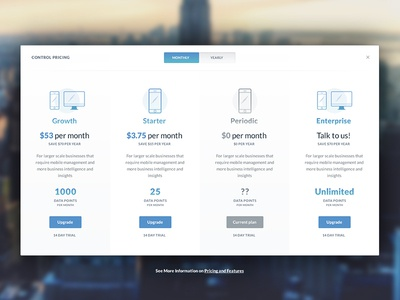 Package selection upgrade month enterprise table pricing selection package ux ui