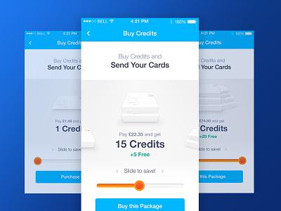 Postcard App slider buy postcard cards increment design mobile ux ui
