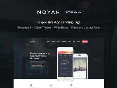 Noyah - Responsive App Landing Page noyah purchase landing page landing app responsive