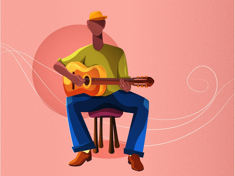 Guitarist guitarist guitar instrument music learn website ui ux graphic  design vector illustration design flat