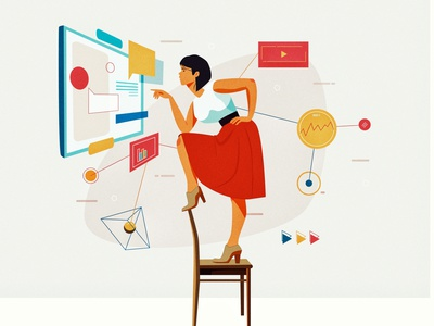 Stay In And work charcterdesign design working process analysis connected data work women graphic  design vector illustration flat