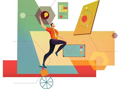 Idea to Goal system management goal idea work website ux graphic  design vector illustration flat design