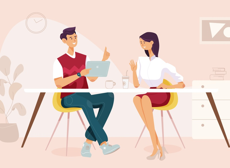 Discussion woman man character design art business conference meeting discussions discussion data vector graphic  design illustration design flat