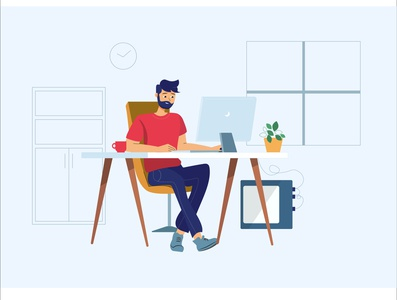 Developer working on his workstation workspace working workstation developer ux website graphic  design vector illustration design flat