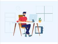 Developer working on his workstation workspace working workstation developer ux website graphic  design vector illustration design flat
