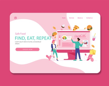 Food Payment page delivery service landing page landing page design landingpage payment app food illustration food app food ux branding website graphic  design vector design illustration flat