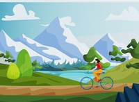Cycling poster art nature mountains bicycle landscape cyclist cycling cycle design flat vector illustration