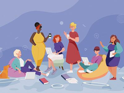 LeanIn organization community women in illustration women design vector illustration flat