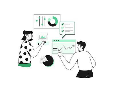 website management minimal webpage ux content data graphic  design design flat illustration management website