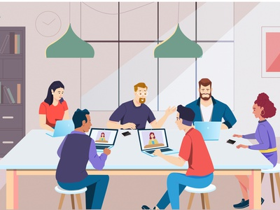 conference meeting room online conference meeting website graphic  design vector illustration design flat