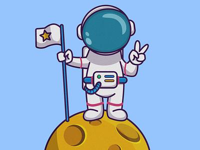 On Moon graphic astronaut moon graphic  design vector illustration design flat