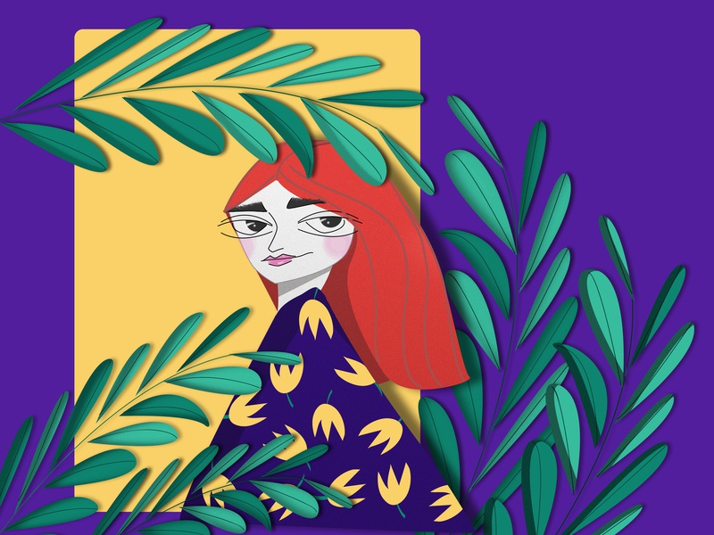 The lady and leaves women women in illustration ui ux vector graphic  design illustration flat design