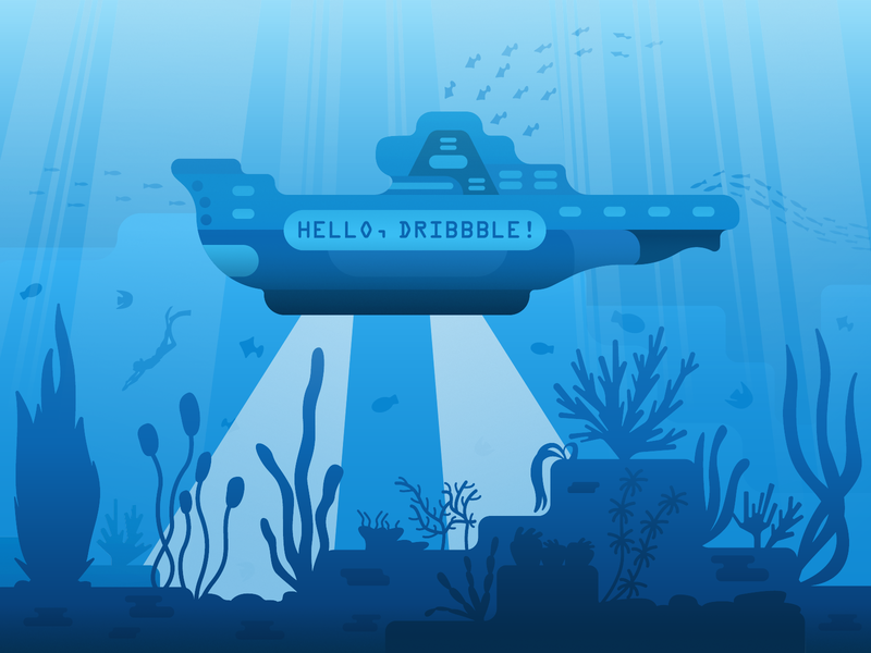 Hello Dribbble! vector marine drawing artists creative sea art design illustration