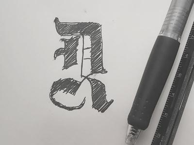 D R Monogram old english ink typography blackletter monogram sketch