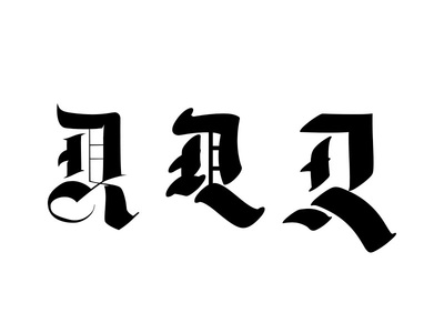 D R Monogram - Vector First Pass old english illustration vector monogram typography blackletter