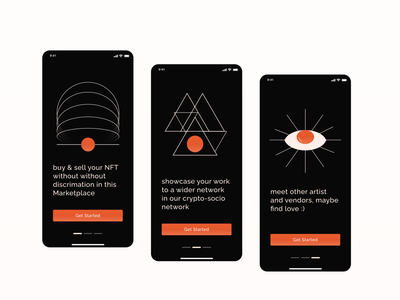 NFT Marketplace walkthrough app design ui app design vector illustration crypto sign up walkthrough app ui