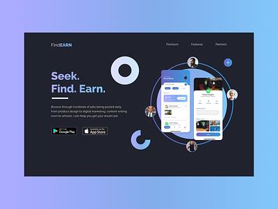 Job Seekers - Landing Page web ui app design illustration web design landing page