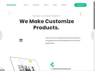 Customized Products Landing Page creative design branding ux ui website landing page design home page customized products custom development