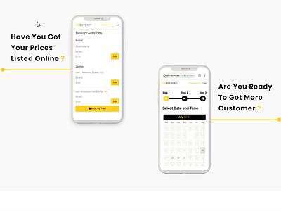 Mobile App Design website ux pricing ui design branding custom web development custom web design landing page beauty app