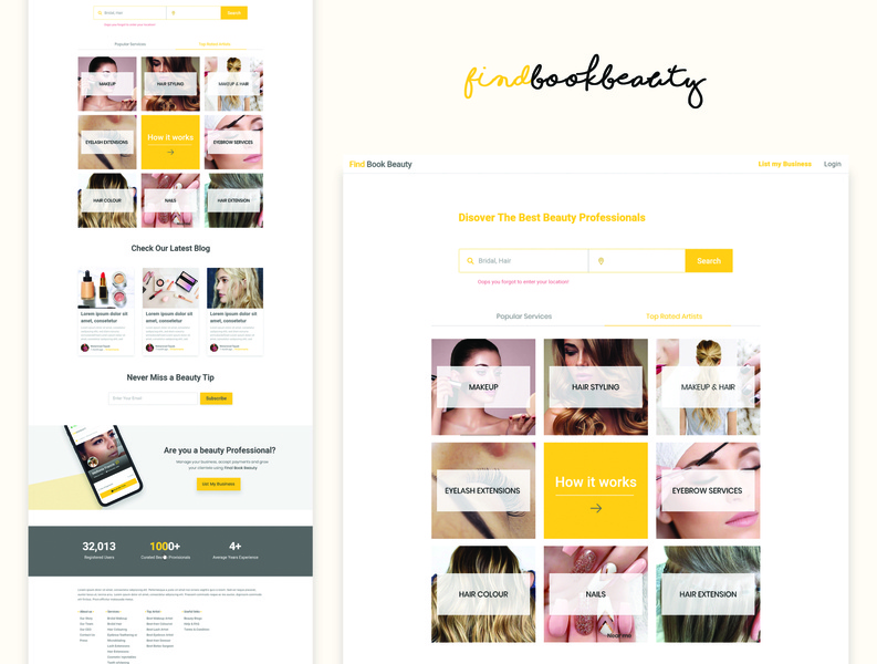 Homepage For Beauty App clean smooth sleek website ux ui branding marketplace design artists landng page beauty app