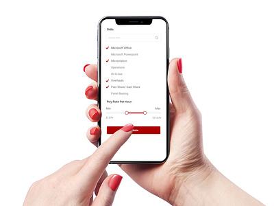 Recruitment App clean smooth sleek website ux ui rail industry design search employee filters recruitment app