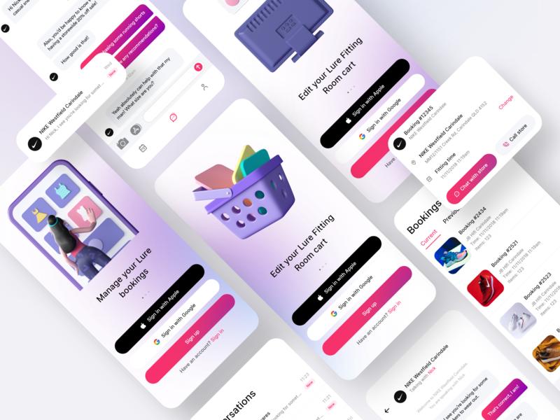 Lure - Mobile Screens signup shop shopping brisbane lure app mobile ui c4d ux ui