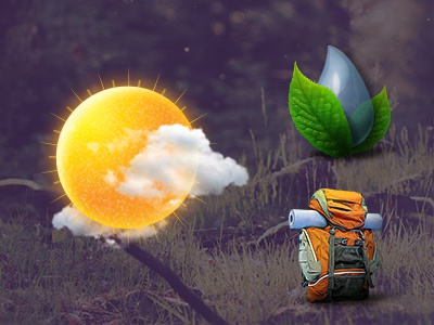 Channel Icons climate energy watershed water trails hiking environment sun backpack leaf clouds