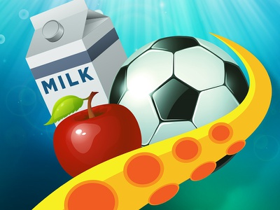 Grab The Goodies App Icon water grab the goodies octopus apple soccer ball milk icon app