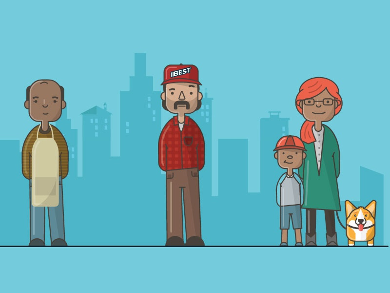 Checkology Characters kid son mom mother shop owner truck driver illustration characters