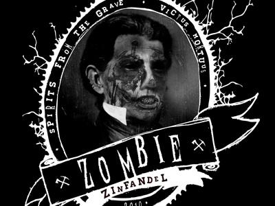 Zombie Zinfandel zombie zinfandel wine wine label illustration black and white sketch