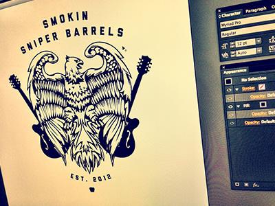 Smokin Sniper Barrels Logo eagle logo illustration band smokin sniper barrels guitar