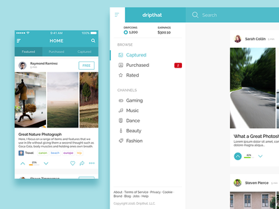 Dripthat Mobile App & Website ios card feed website mobile media social dripthat