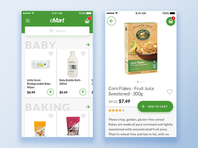 Grocery Store E-commerce Mobile App trend cart simple minimal light green ios app mobile e-commerce store grocery