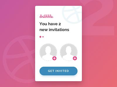 Two Dribbble Invitations new debut invite invitation dribbble
