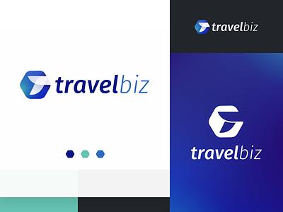 Travelbiz Logo hexagon modern branding marketplace business biz logo travel