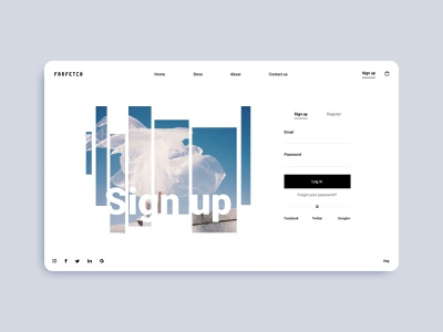Sign up // Farfetch redesign designer minimalism minimal webdesign web uiux ux ui illustration design