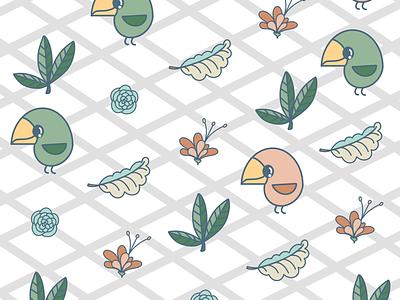 Bird pattern homedecor plants birds kids kidsdesign cute procreate patterndesign pattern bird