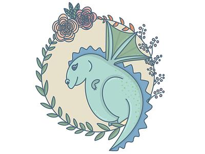 Cute dragon wreath illustration procreate cute kidswear dragon