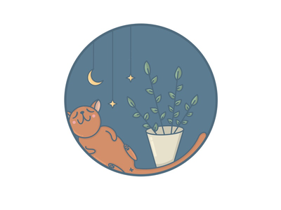Goodnight procreate print digital. art plants moon stars sleep cat