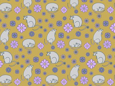 Mice pattern fabric kids textile mice mouse flowers design pattern