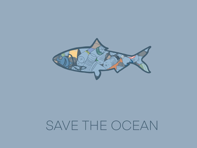Save the ocean aware design save the ocean enviroment fish procreate